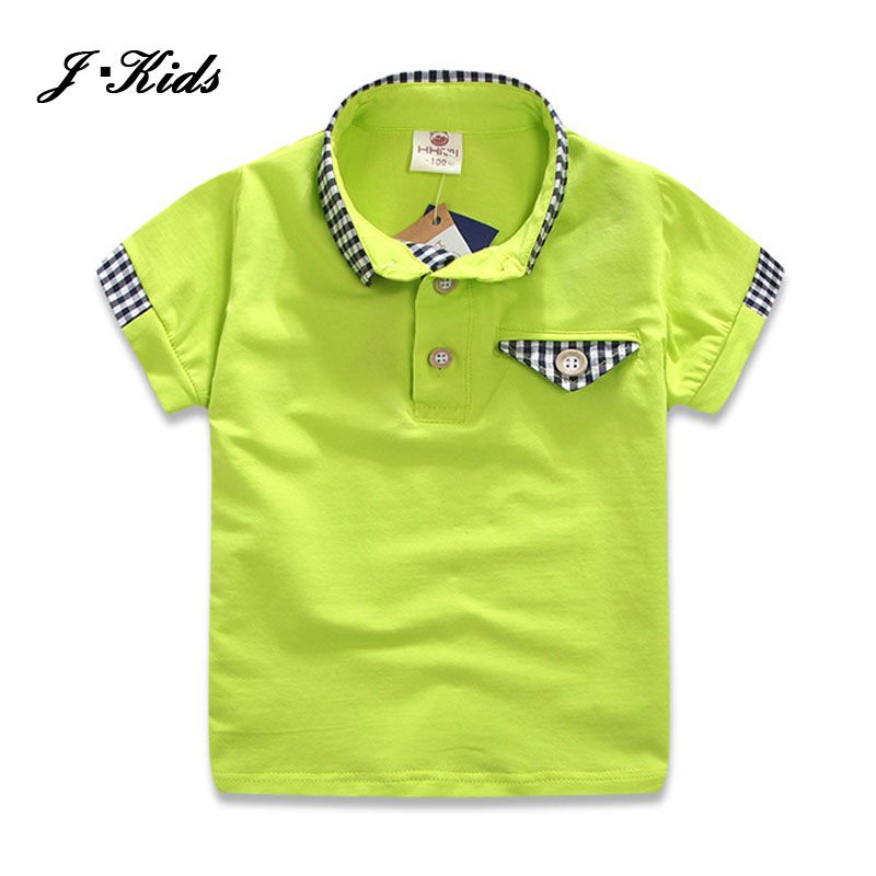 2016 Summer boys clothing fashion plaid boys polo shirts New 2-8Y breathable kids short shirts for boys with red and green color<br><br>Aliexpress