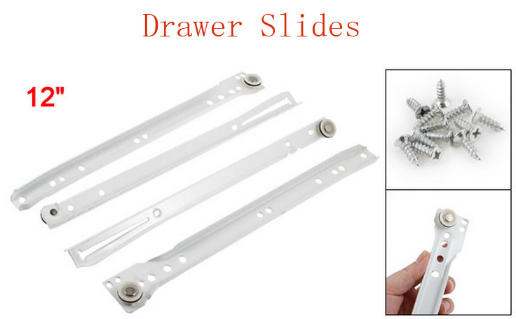 "Pair Repair Parts 12"" White Metal Furniture Drawer Slides w Screws(China (Mainland))"