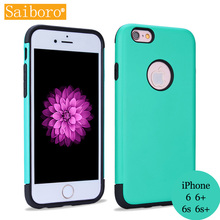 Saiboro Candy Macaron Colors 2 in 1 Protective Shield Case Hybrid Anti-knock Phone Accessories for iPhone6 6p 6s 6sp SBR 3 Green