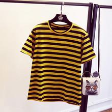 Joker Yellow Black Striped Short Sleeve T-shirt Women 2017 Newly O-Neck Casual T shirts Cute Summer Fashion Female Tops 64328(China (Mainland))