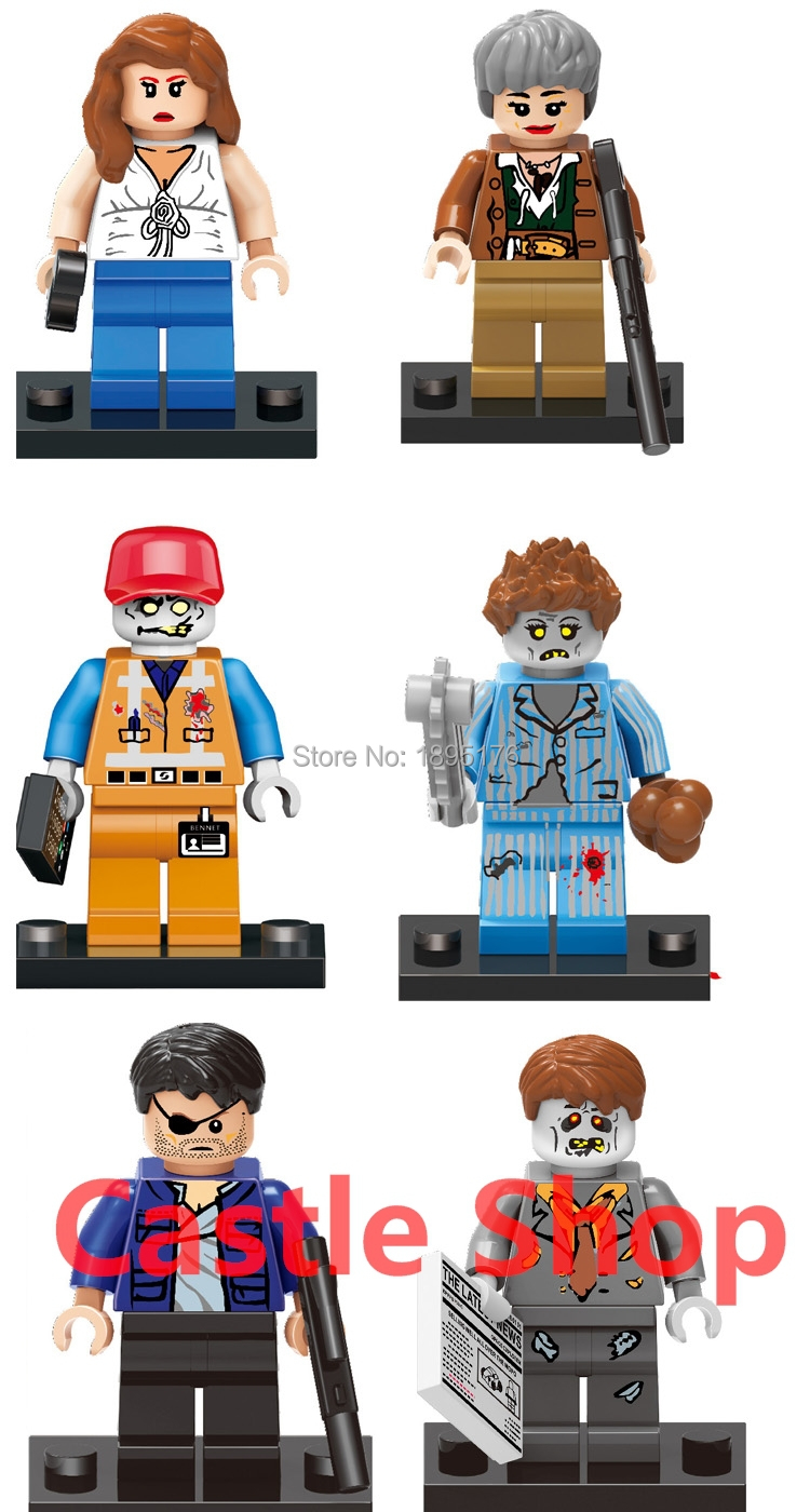 Authentic zombie minifigures LEGO compatible people zombies walking dead scene Doll Toy LZ-109(China (Mainland))