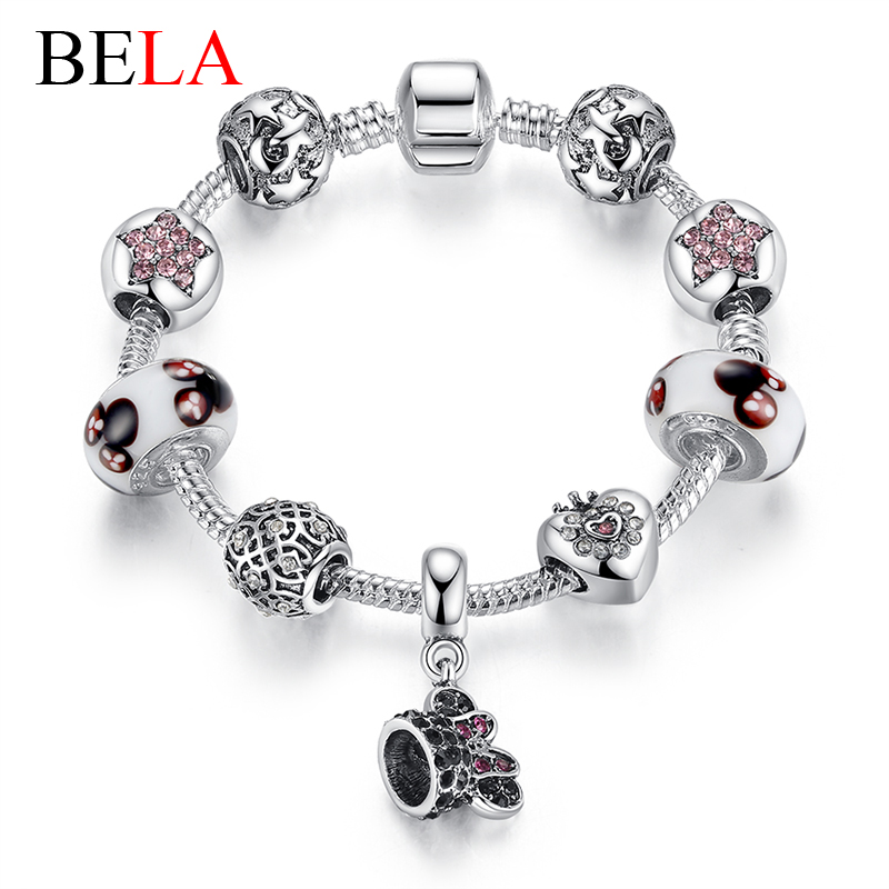 Original 2016 European murano glass silver plated mickey/star/love heart beads charm Bracelets for women gril summer jewelry(China (Mainland))