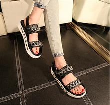 2015 Brand Women Sandal Metal Chain Closed toe Platform Sandals Flat Summer Shoes Woman Punk Sandalias Mujer Sandles