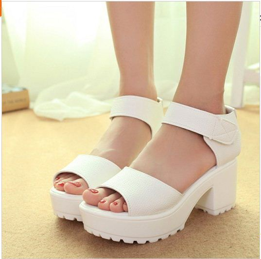Womens white low heel sandals