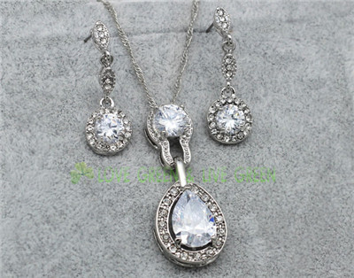Queen Kate jewelry set brand bridal wedding 18kGP Austrian Crystal zircon tear drop pendant chain necklace