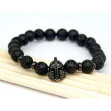 2017 Fashion Lava Charm Men's Bracelets Famous High Quality Knight Helmet Braiding Brand Bandage Macrame Strand Beads Bracelet.(China (Mainland))