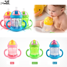Hot 240ml Cute Baby Cup Kids Children Learn Feeding Drinking Water Straw Handle Bottle mamadeira Sippy Training Cup 3 Colors(China (Mainland))