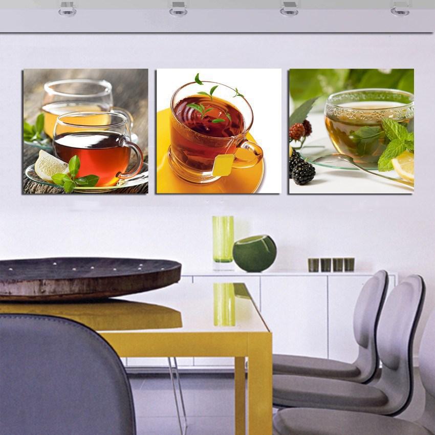 Cheap Hot Kitchen Canvas Wall Art Modern Coffee Tea