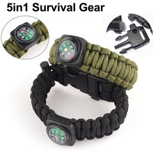 5in1 Survival Flint Fire Starter Paracord Whistle Gear Buckle Camping Ignition Equipment Rescue Rope Escape Bracelet Travel Kit(China (Mainland))