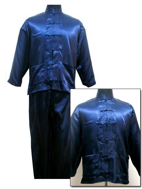Бесплатная доставка! Темно-синий мужская полиэстер атласа комплект куртка брюки пижамы ...