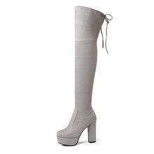 Größe 34-43 Neue 2019 Über das Knie Stiefel Frauen Faux Wildleder Oberschenkel Hohe Stiefel Plattform Stretch Schlank Sexy damen frauen Winter Stiefel(China)