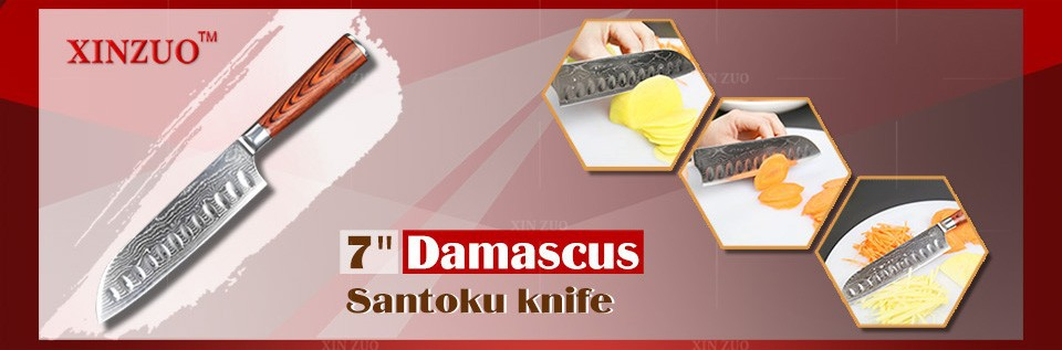 "Buy NEW 7"" inch Japanes chef knife Japanese  Damascus kitchen knife high quality VG10 santoku knife wood handle FREE SHIPPING cheap"