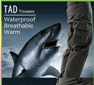 Shark Soft Shell TAD Military Tactical pants Waterproof Windproof outdoors Sports Army camouflage Fleece hunting pants