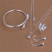 Factory Price Top Jewelry Silver Plated Drop Jewelry Sets Necklace Bracelet Bangle Earring Ring Women Jewelry Set(China (Mainland))