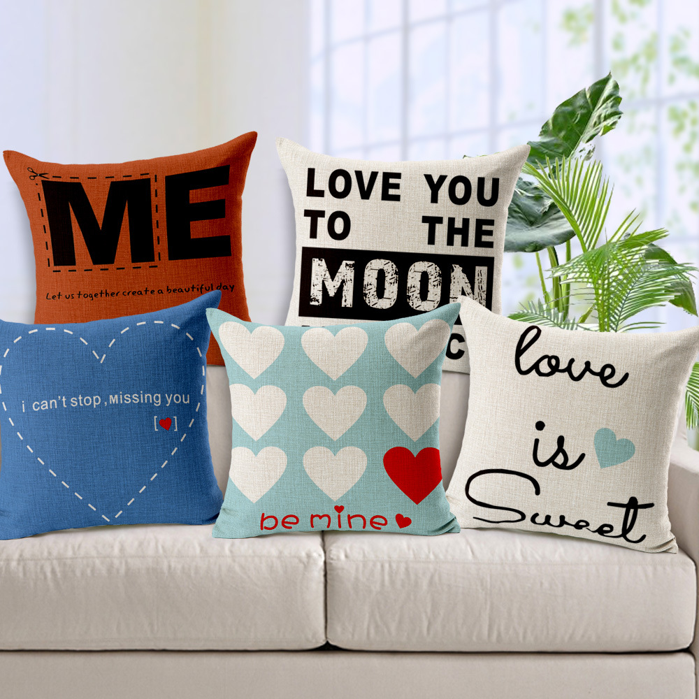 Lovers Couple Cushion Cover Romantic Nordic Creative Throw Pillow Covers for Sofa Coffee Bar Car Housse De Coussin Funda Cojin(China (Mainland))