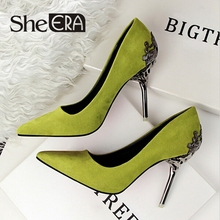 She Era Fashion sexy women pumps carved metal scarpe donna thin high-heeled women suede shallow mouth pointed wedding shoes(China (Mainland))