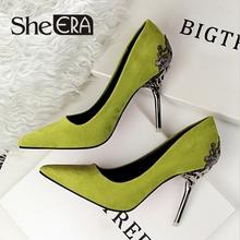 Elle ère mode sexy femmes pompes métal sculpté scarpe donna mince haute - talons hauts femmes en daim bouche peu profonde a des chaussures de mariage(China (Mainland))