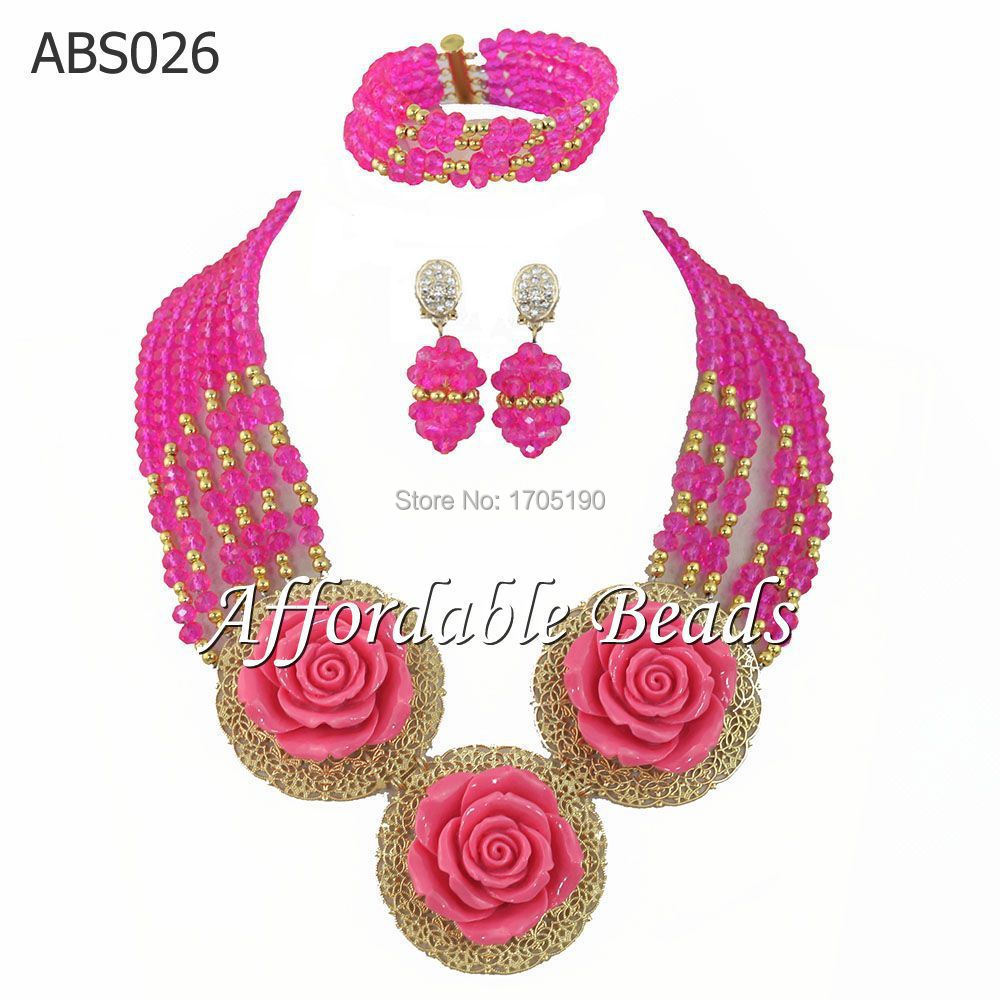 2015 New Design Flowers Nigerian Wedding Crystal Beads Necklace Jewelry Set Fuchsia African Costume Bridal Jewelry Set ABS026(China (Mainland))