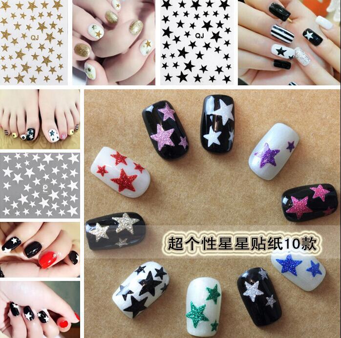 3D cute stars nail stickers glitter star ornaments nail art tool nail accessories(China (Mainland))