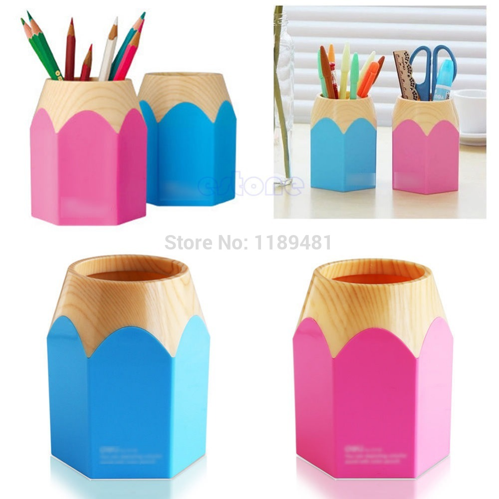 F85 Free Shipping Pink/Blue Pencil Makeup Brush Holder Pen Cup Box Desk Organizer Kids Gift New(China (Mainland))