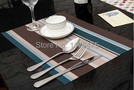 4 pcs Free Shipping New Arrival Blue PVC Table Mat With Woven Design Plastic Placemat Home Supply(China (Mainland))
