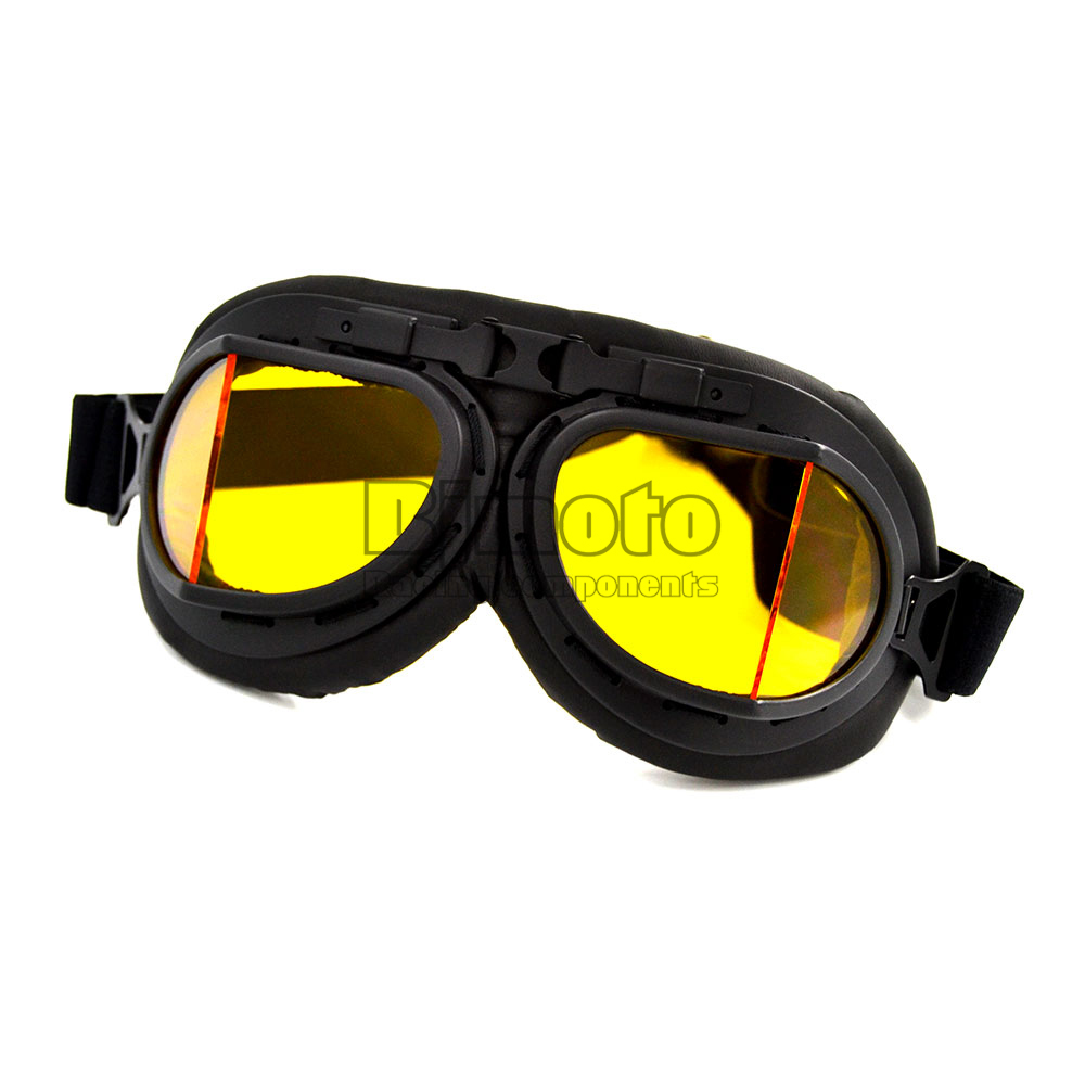 Moto Goggle Black Goggles Amber Lens WWII Raf Vintage Pilot Motorcycle Bike Cruiser Helmet Motocross Glasses Free Shipping(China (Mainland))