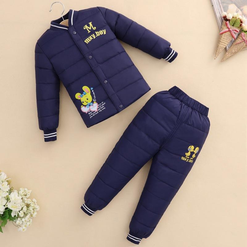 Скидки на Новая осень и зима маленьких детей пуховик костюм для мальчиков и девочек теплый под вниз пальто + брюки набор