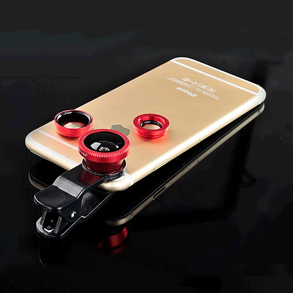 High quality Universal clip-on phone lens for smart phones 3 in 1 Fish Eye+ Wide Angle+Macro lens Mobile Fisheye lens