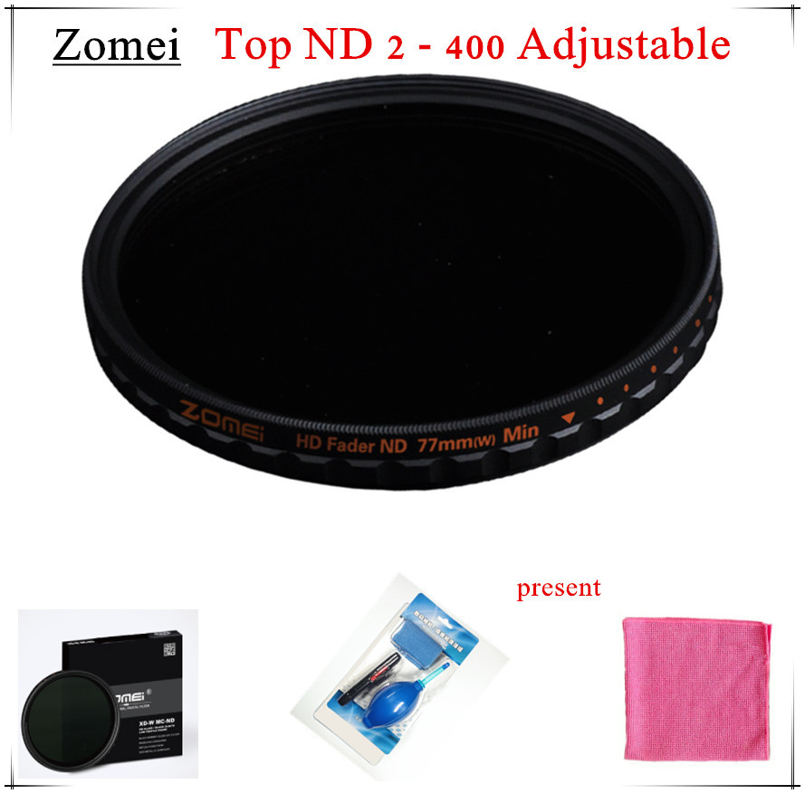 Top UHD Zomei Adjustable 77mm ND Filter ND2 - 400 Germany Schott Glasses 18 Layer Coating Oil Soil + Clean Kit for Canon Camera(China (Mainland))