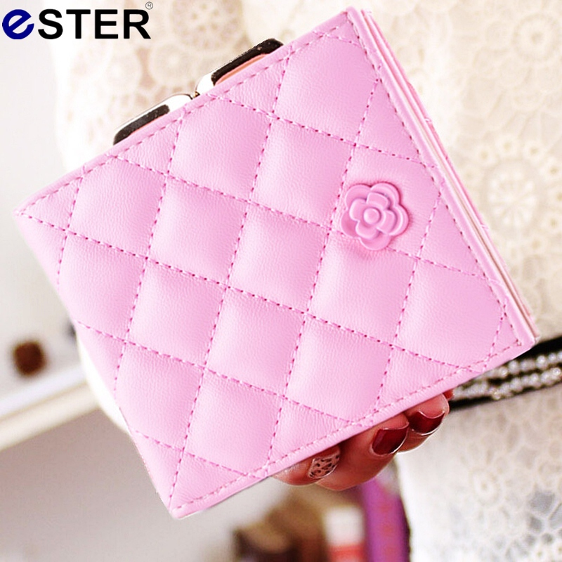 2016 New Fashion Korean Style Flower Women Wallet Classic Quilted Embroidered Short Wallet Women Mini PU Leather Card Purse N095(China (Mainland))