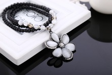 Romantic White Flower Pendant Long Chain Sweater Necklace For Sale, Winter Autumn Coat Chain Necklace(China (Mainland))