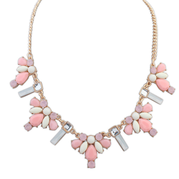 Aiffry 2015 New Fashion Crystal Pink Statement Necklace Choker Collar Jewelry For Women N2051(China (Mainland))