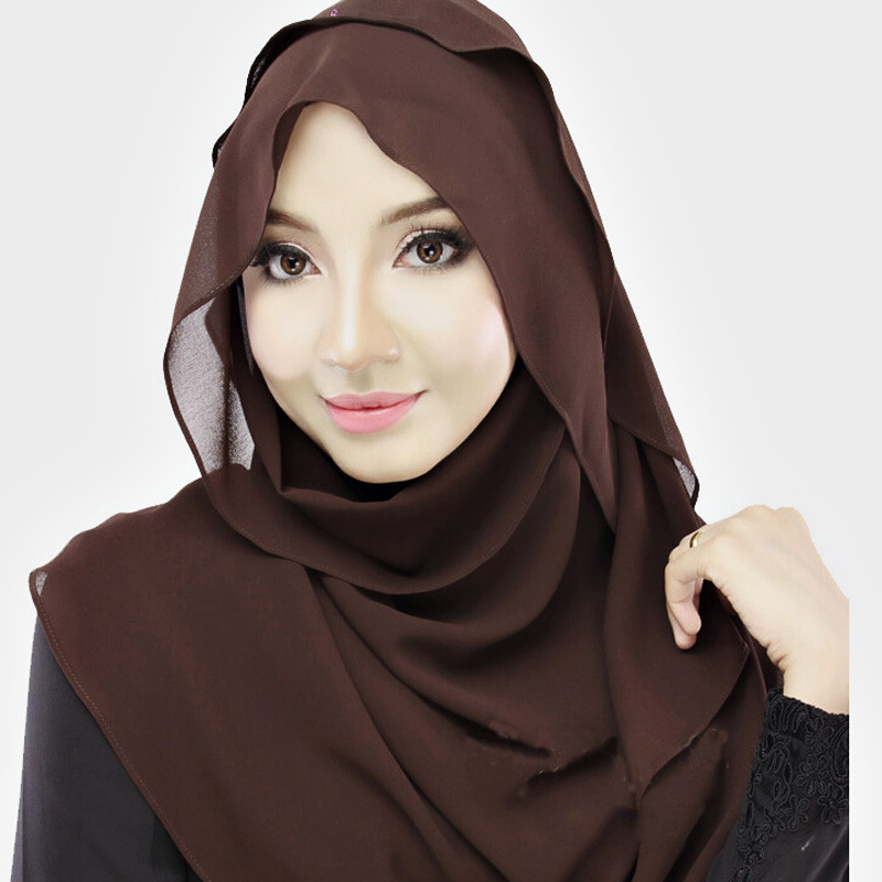 180*70Cm Solid Plain Instant Chiffon Hijab 2016 Fashion Silk Echarpe Foulard Femme Wrap Neck Snood Islamic Muslim Hijab Sjaal(China (Mainland))