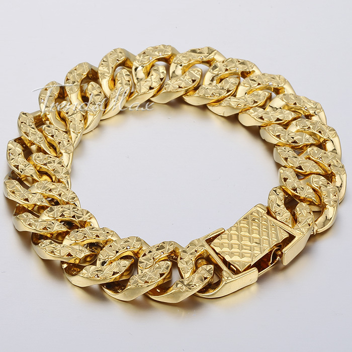 14mm 19.1cm Mens Womens Shiny Bracelet 18K Yellow Gold Filled Big Hammered Curb Link Bracelet Wholesale Gift Jewelry LGB376(China (Mainland))