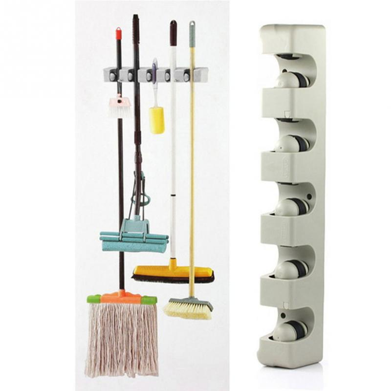 Kitchen Wall Mounted Hanger 5 Position Kitchen Storage Mop Broom Holder Tool Plastic Wall Mounted Hanger(China (Mainland))