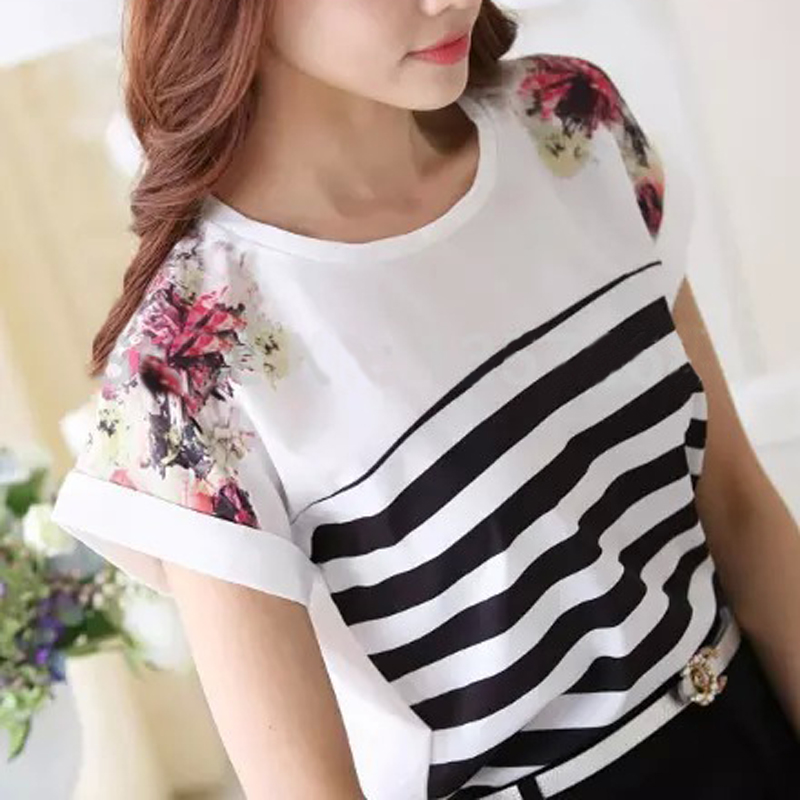 Hot Women Blouse Loose Print Striped Blouse Ladies Short Sleeve Chiffon Blouses Shirt Women Tops Fashion 2015 Blusas Femininas(China (Mainland))