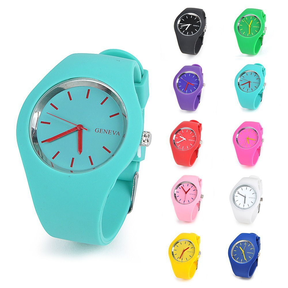2015 Newest Fashion Candy Color Geneva Silicone Jelly Quartz Watch Casual Outdoor Sport For Women Girls Wri