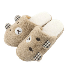 Cute Bear Winter Warm Antiskid Slippers Soft Plush Indoor Couple Home Slipper Shoes pantuflas pantufa(China (Mainland))