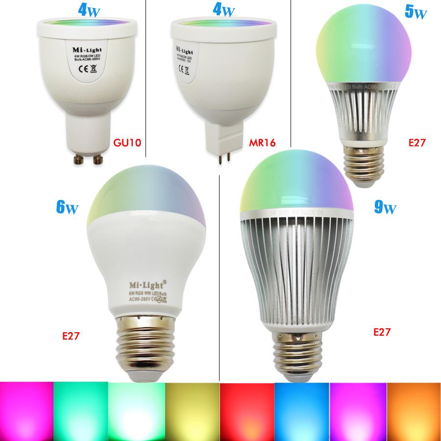 MR16 GU10 E27 Smart RGBW LED Bulb E27 + 2.4G RF Remote Controller 16 million color Dimmable Mi.light LED Lamp set AC85-265V(China (Mainland))