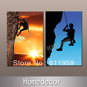 2pcs/set Rock Climbing Challenge sport canvas printing wall canvas painting modern oil art collection decoration NO frame