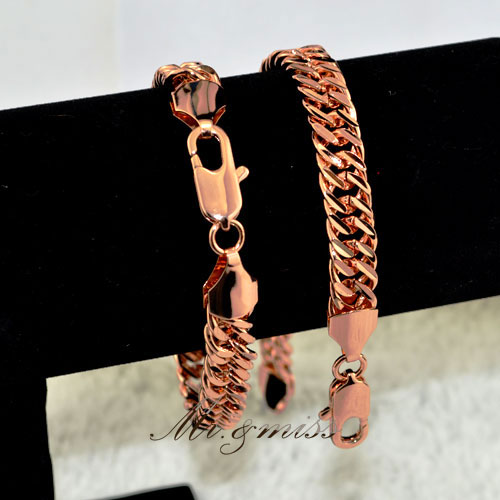New Fashion Jewelry Mens Womens Link Chain 18K Rose Gold Filled Bracelet Jewellery RB5 - Mr&Miss(J&L storeJewelry )