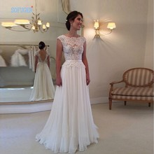 New Arrival 2016 Custom Made Backless Wedding Dress Vintage Vestidos De Noiva A Line Lace Sleeveless Bridal Gowns(China (Mainland))