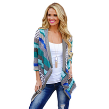 Boho Womens Long Sleeve Cardigan Loose Sweater Outwear Knitted Jacket Coat Stripes Tops Multi/ Black Color(China (Mainland))