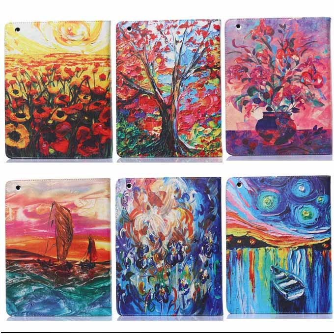 For Apple ipad 2 3 4 Fashion Oil painting design Folio PU Leather Case for ipad 2 3 4 tablet accessories with Stand Holder(China (Mainland))