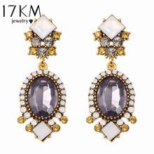 17KM Fashion Geometric Earrings vintage gothic designer wedding crystal Purple Crystal earrings for women Wholesale bijoux(China (Mainland))