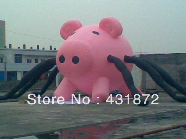 Free shipping 4m inflatable pig head/inflatable cartoon(China (Mainland))