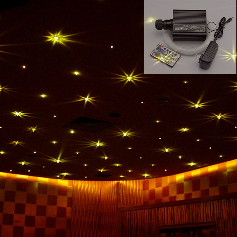 Colorful 16W RGBW LED optical fiber lights star ceiling kit light 0.75&1 &2mm mix fibers 28key remote control illuminator(China (Mainland))