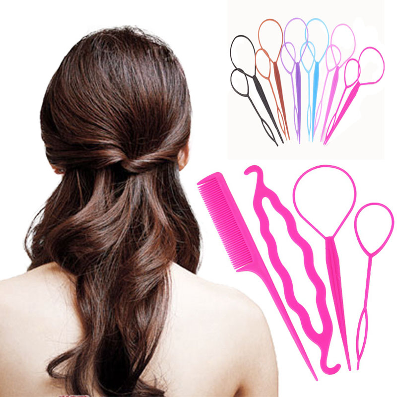 4 pcs Hair Twist Styling Clip Stick Bun Donut Maker Braid Tool Set Hair Accessories 5 Colors Available Y2R1C(China (Mainland))