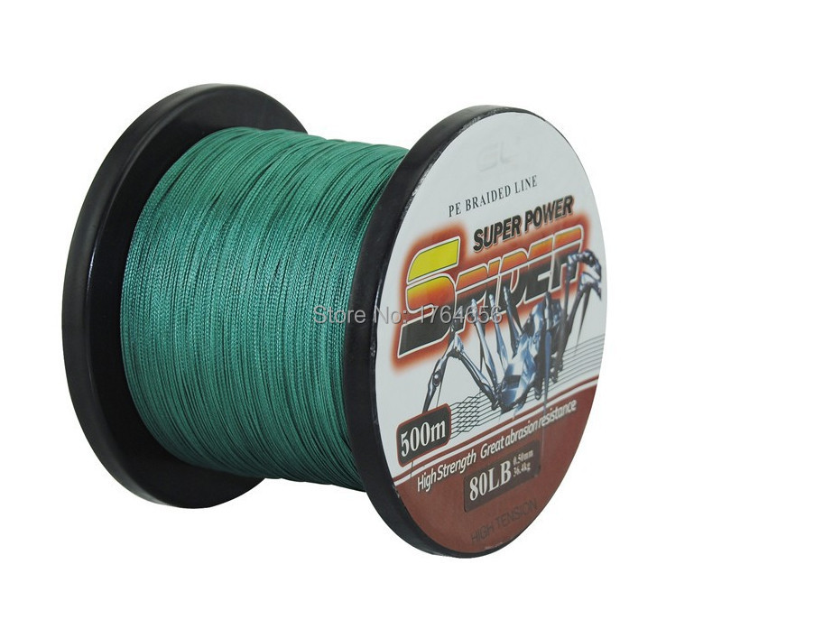Hot ! 12LB - 80LB Superpower 4X-PE Braided Fishing Line - 500M(547 Yard) Strong Multifilament Fishing Line Wholesale Green(China (Mainland))