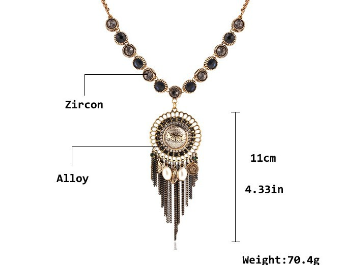 pendant necklace sweater chain national style restoring ancient ways temperament joker character chain tassel metal collar NK114(China (Mainland))